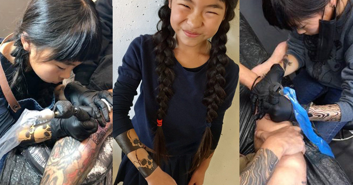 13 Tattoo Artists Share Some Of The Beautiful Flower: 9-Year-Old Girl Has Been A Tattoo Artist For 3 Years