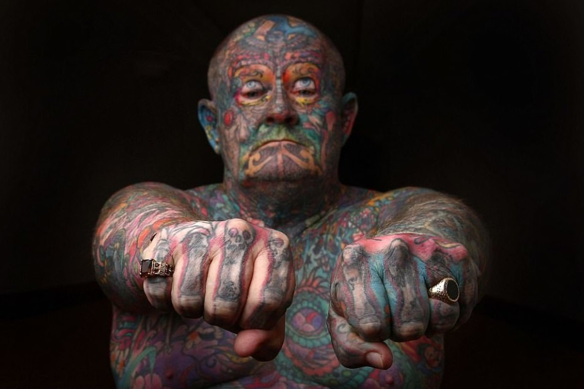 John kenney, 60 year old tattoos, old and tattooed, gangster tattoos, face tattoos, man tattoos whole body out of self hatred, cut off finger