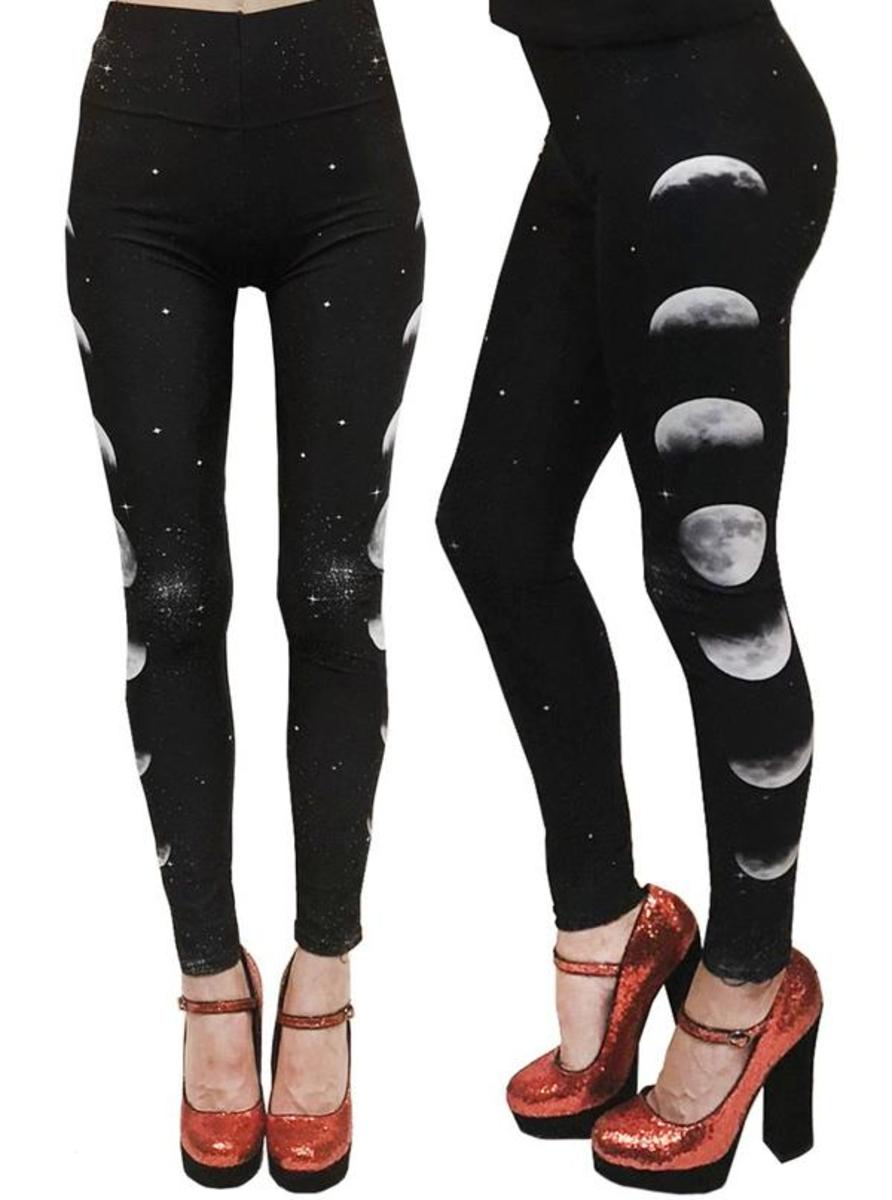 Phases of the Moon High Waist Leggings by Rat Baby