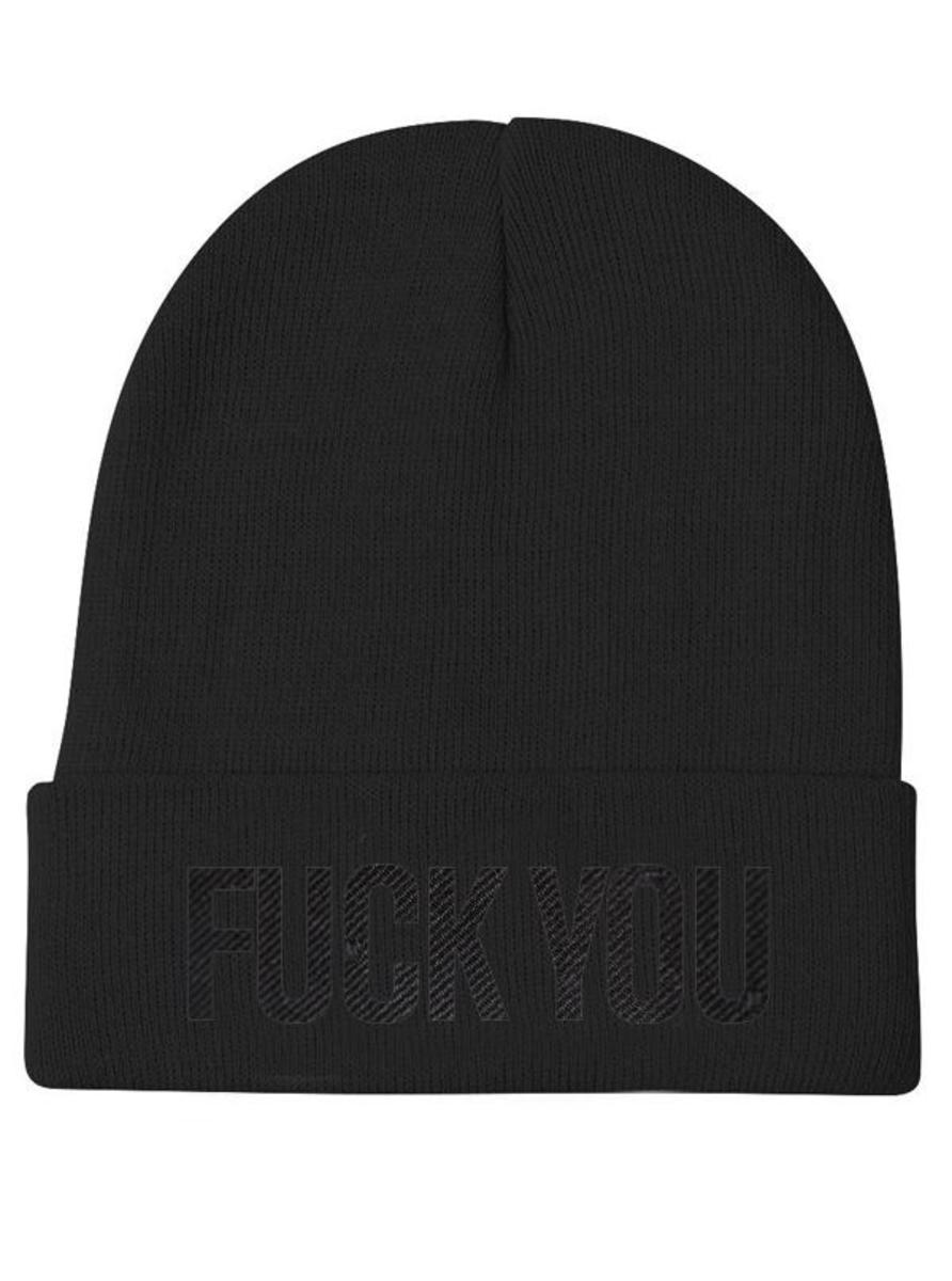 """FUCK YOU"" KNIT BEANIE BY INKED"