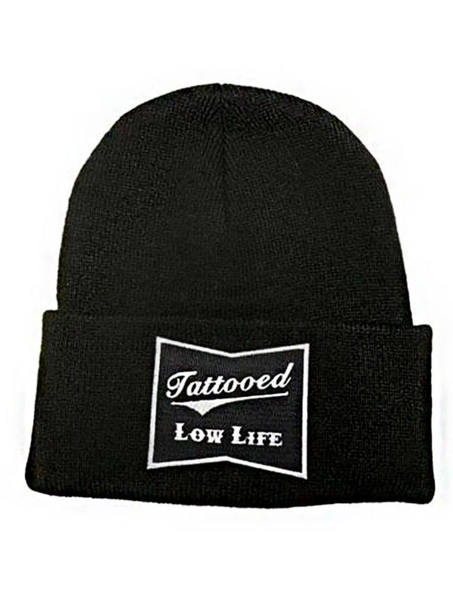 """TATTOOED LOW LIFE"" KNIT BEANIE BY CARTEL INK"