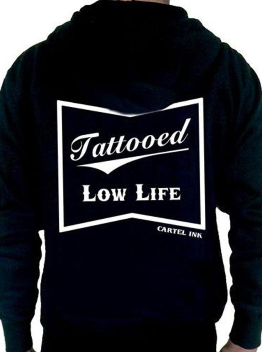 "MEN'S ""TATTOOED LOW LIFE"" ZIP-UP HOODIE BY CARTEL INK"