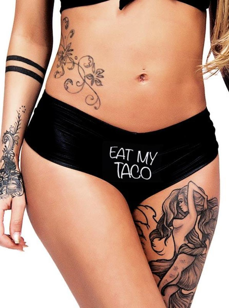 "WOMEN'S ""EAT MY TACO"" BOOTY SHORTS BY CARTEL INK"