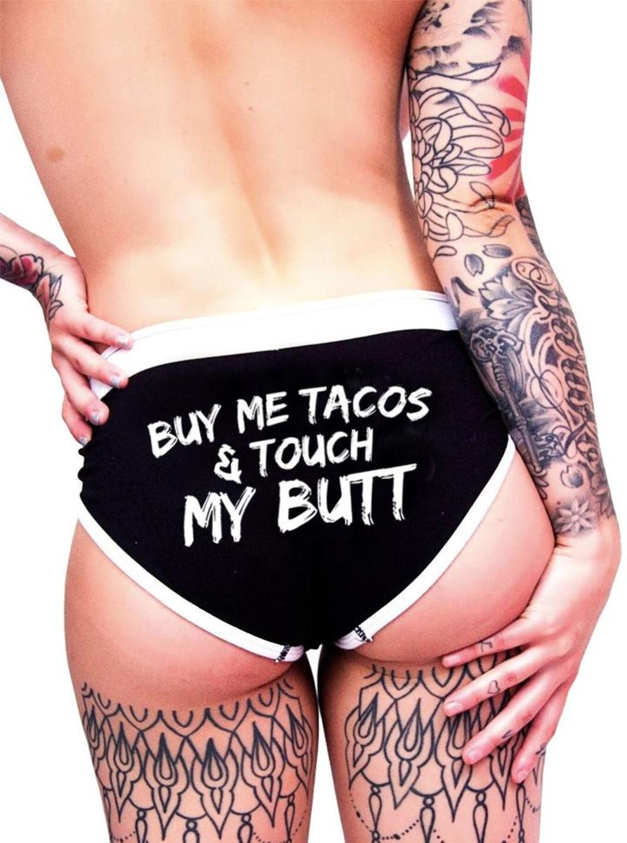 "WOMEN'S ""BUY ME TACOS"" BOY BRIEFS BY INKED"