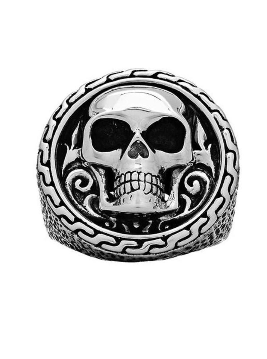"""GRINNING SKULL"" EMBLEM RING BY SILVER PHANTOM JEWELRY"