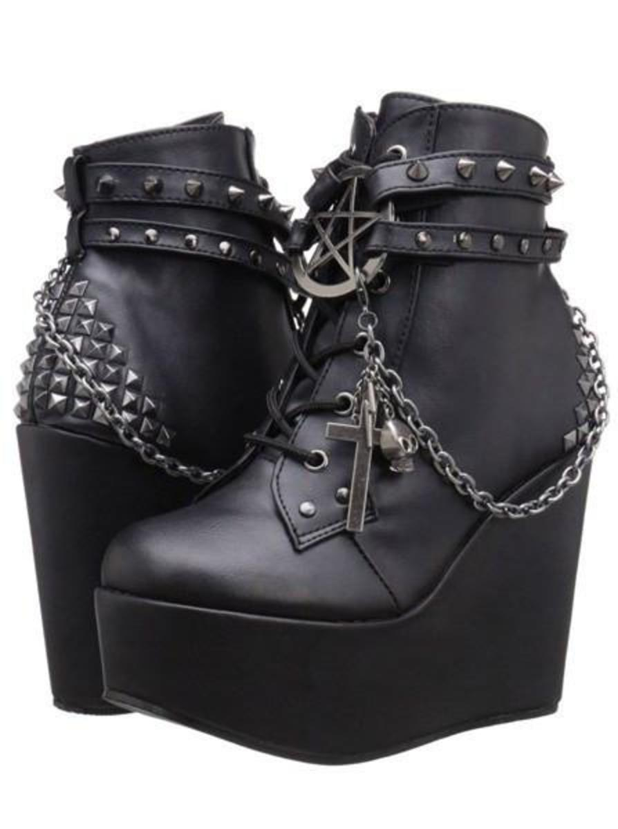 """POISON 101"" VEGAN LEATHER WEDGE BY DEMONIA"