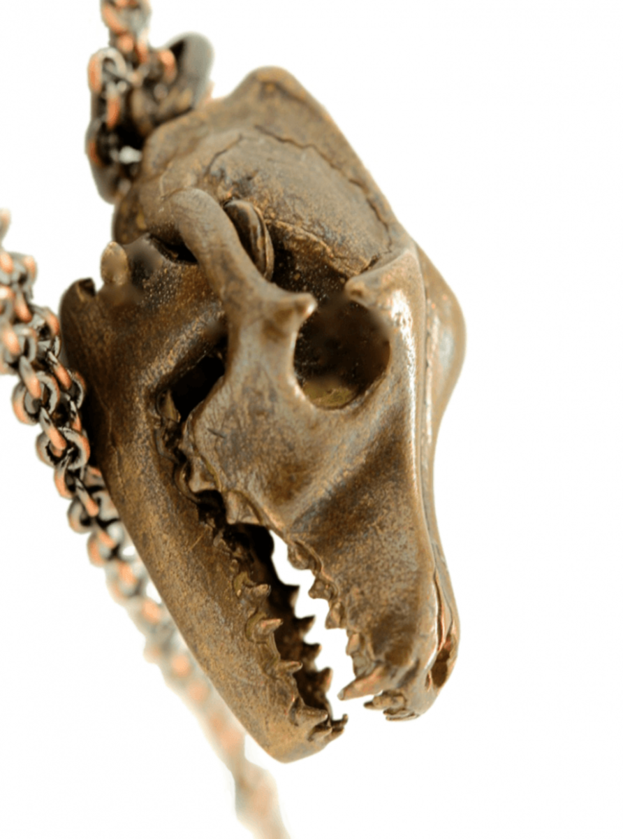 """WOLF SKULL WITH MOVING JAW"" NECKLACE BY BLUE BAYER DESIGN"