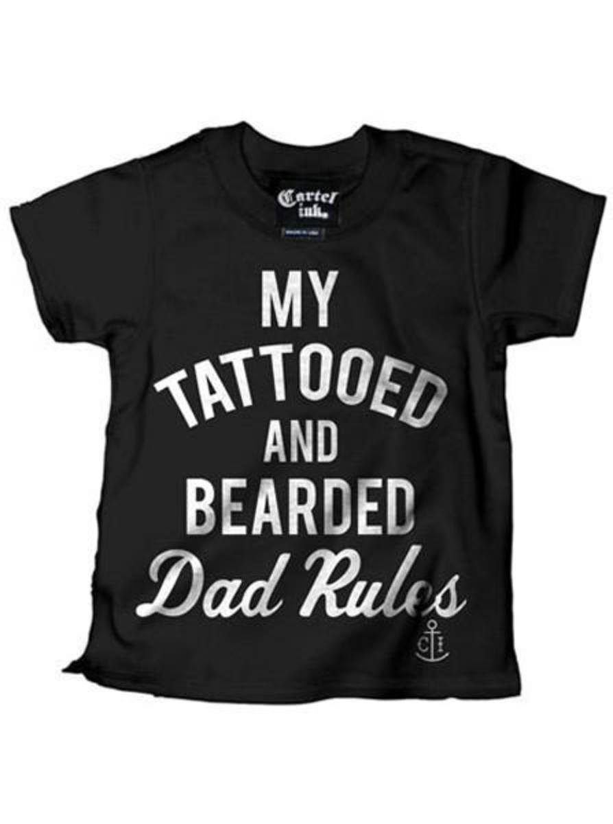 "KID'S ""MY TATTOOED AND BEARDED DAD RULES"" TEE BY CARTEL INK"