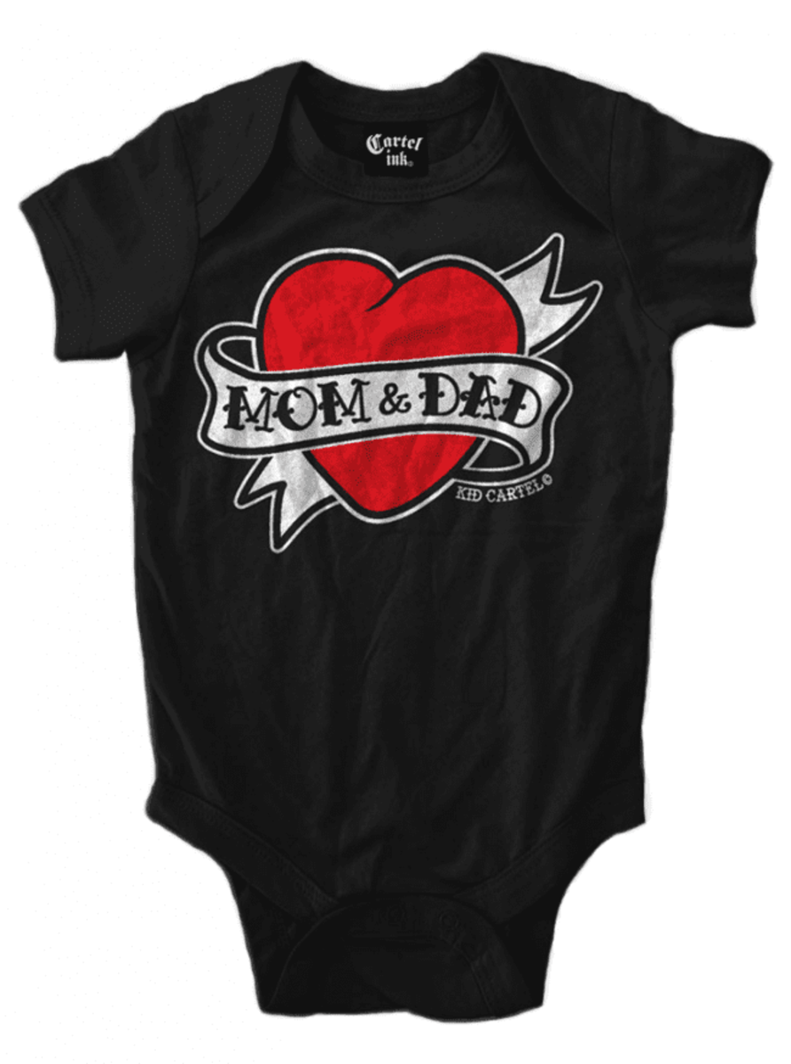 "INFANT'S ""MOM AND DAD HEART TATTOO"" ONESIE BY CARTEL INK"