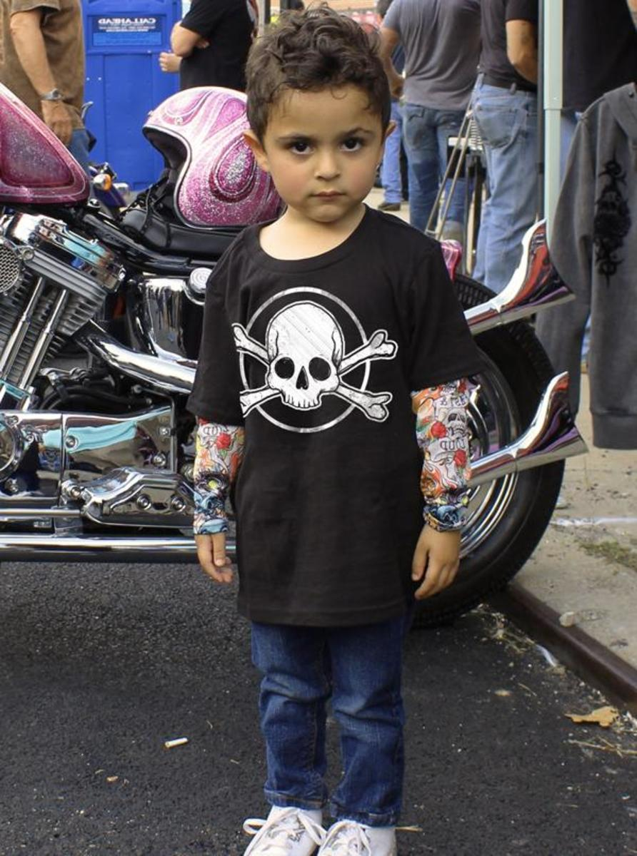 "KIDS ""SKULL & BONES"" TATTOO SLEEVE TEE BY LETHAL ANGEL"