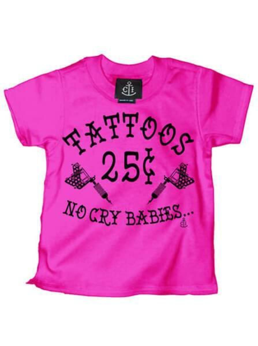 "KID'S ""TATTOOS 25¢ NO CRY BABIES"" TEE BY CARTEL INK"
