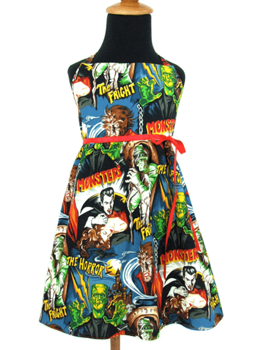 "GIRL'S ""CLASSIC MONSTERS "" DRESS BY HEMET"