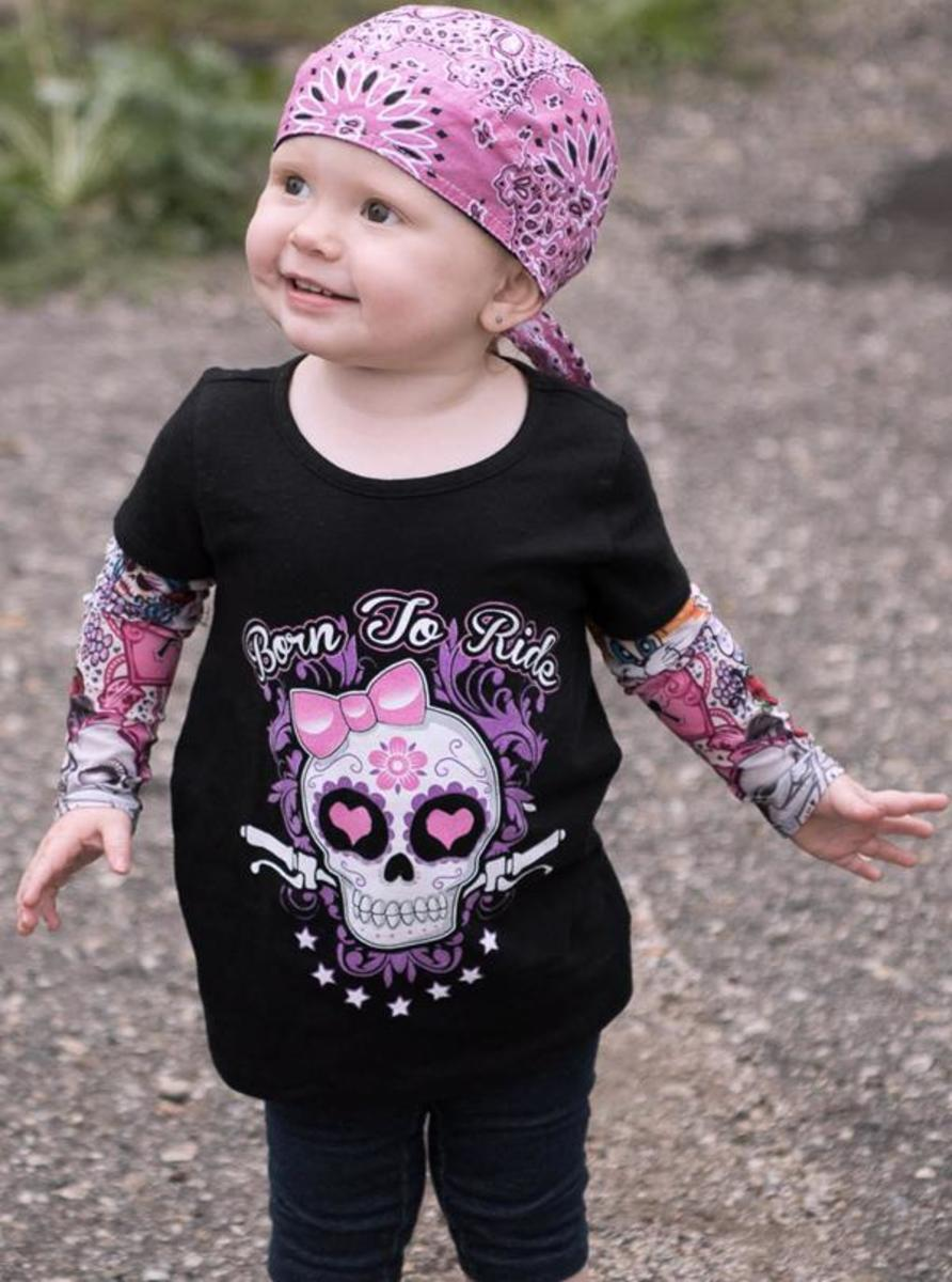 "KIDS ""GIRLY SKULL"" TATTOO SLEEVE TEE BY LETHAL ANGEL"