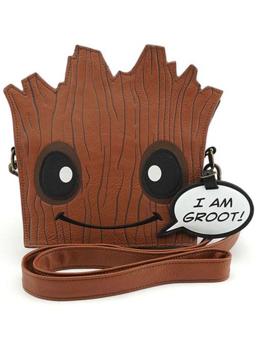 """MARVEL: GROOT"" DIE CUT CROSSBODY BAG BY LOUNGEFLY"