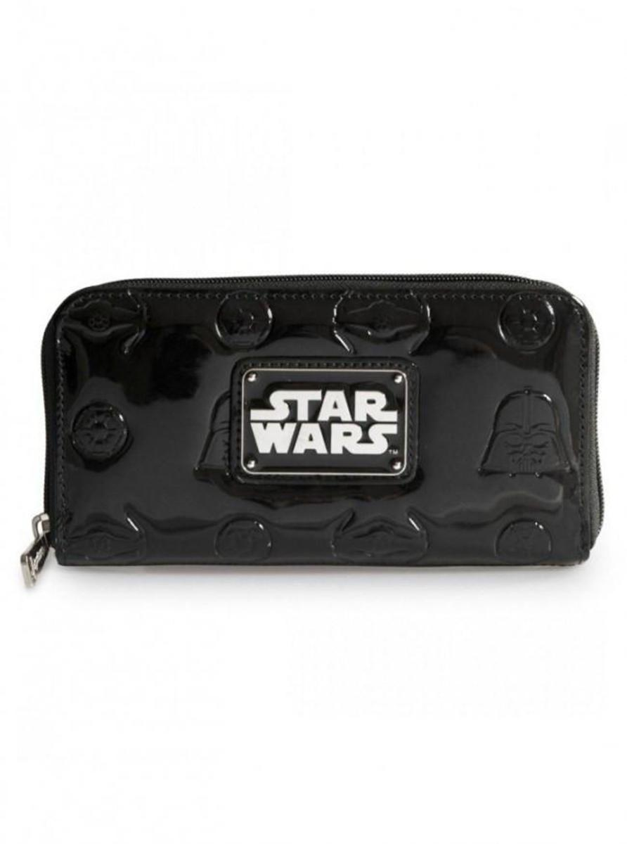 """STAR WARS DARTH VADER DARKSIDE"" PATENT LEATHER ZIP WALLET BY LOUNGEFLY"