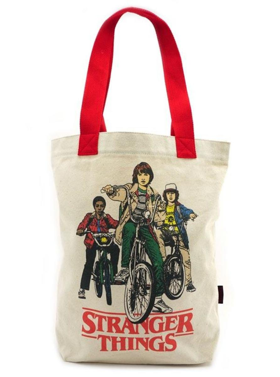 """STRANGER THINGS: BIKE GANG"" CANVAS TOTE BY LOUNGEFLY"