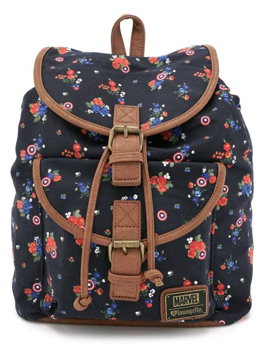 """CAPTAIN AMERICA"" FLORAL CANVAS BACKPACK BY LOUNGEFLY"