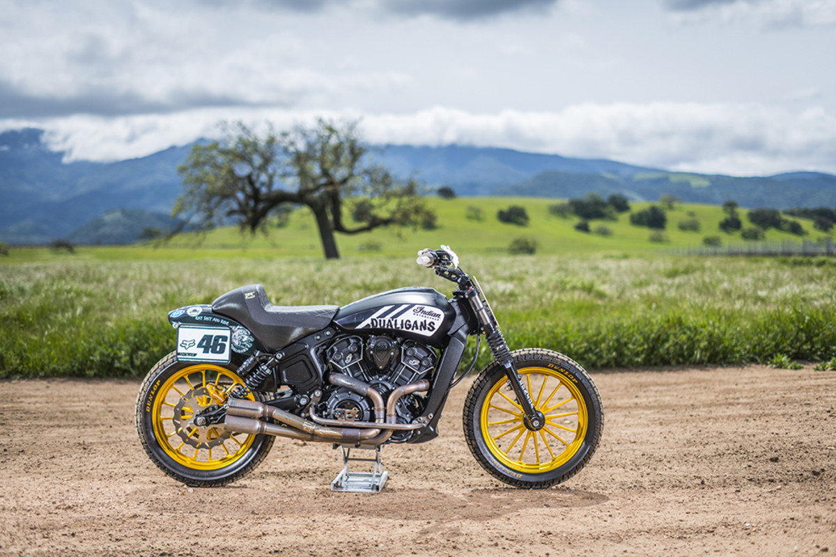 "2016 Indian Scout: ""One of the most fun motorcycles I own. I converted mine to a flat track ""hooligan"" race bike, but I also take it on off road trails near my house."" - Carey Hart. Photography by Matt Wallace"