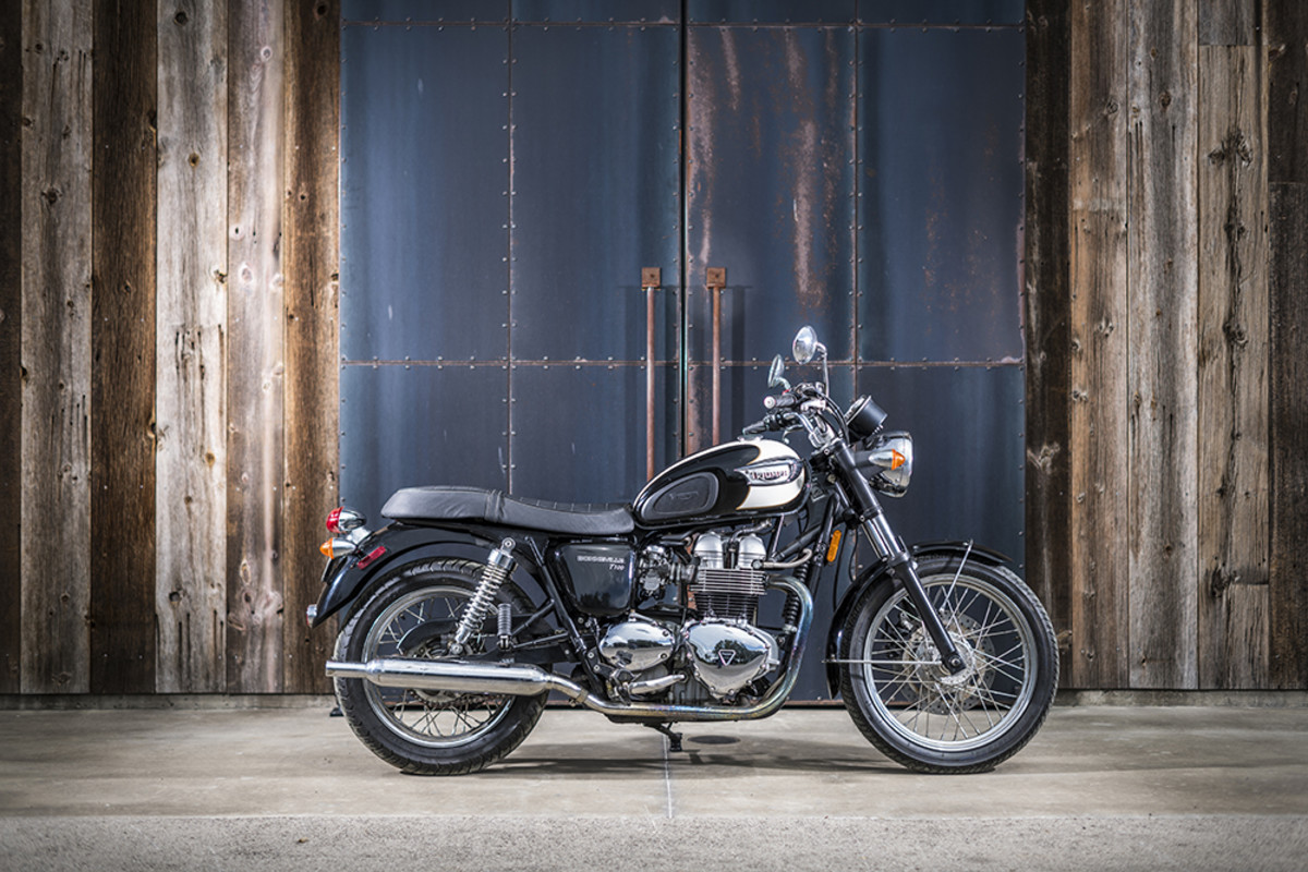 "2002 Triumph Bonneville - ""This is the first street bike I bought my wife, and the bike that started her love of motorcycles.""- Carey Hart. Photography by Matt Wallace."
