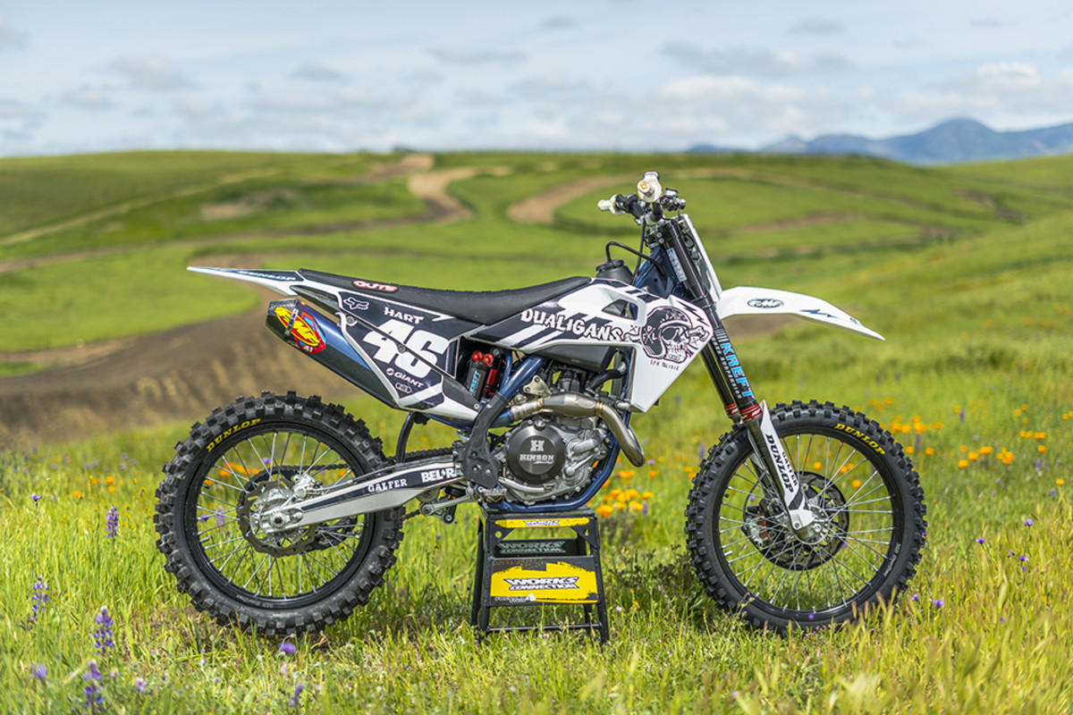 "2019 husky FC450-  ""This is my work horse bike. I'm still technically a professional rider and this is my bike of choice. Weather it's racing or hitting jumps this bike can handle it all.""- Carey Hart. Photography by Matt Wallace."