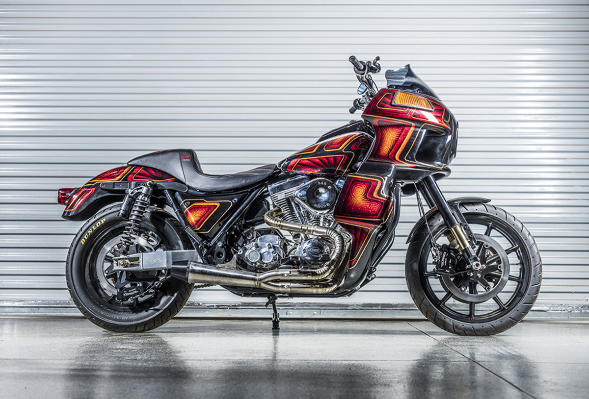 "1987 Harley Davidson FXR- ""This is the first custom motorcycle I built, and what started me down the career path as a custom builder. The bike won the FXR show at Born Free.""- Carey Hart. Photography by Matt Wallace."
