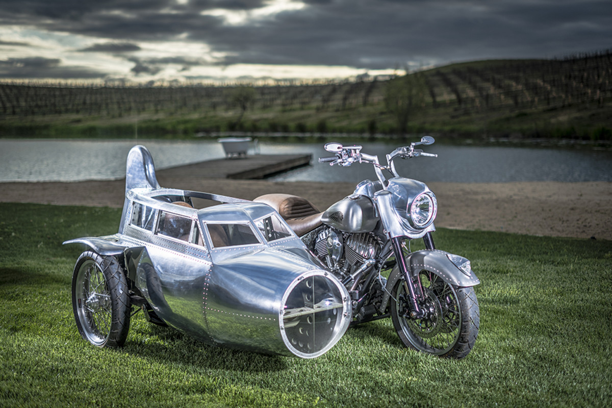 """2017 Indian Springfield B-17 Bomber- """"This custom bike I built with a sidecar that won Hot Bike Tour in 2017. I built it for my son to ride in, and we will start riding it once he is 2 1/2.""""- Carey Hart. Photography by Matt Wallace."""