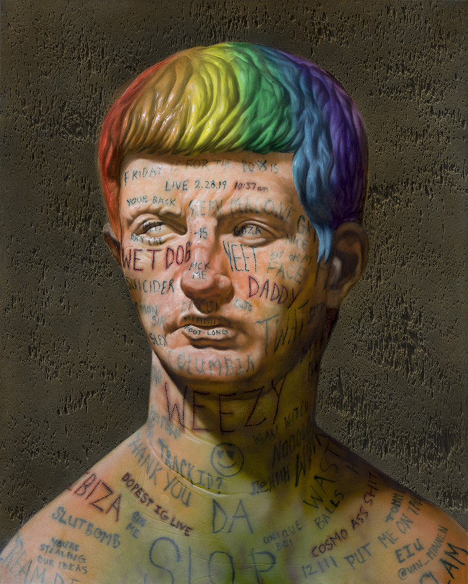 VAN_MINNEN_christian_2019_LITTLE-MAN-WITH-LIVE-INSTAGRAM-VIDEO-COMMENT-TATTOOS_oil-panel_20x16x2in-highres