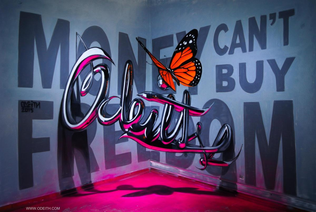 anamorphic chrome letters odeith MONEY CANT BUY FREEDOM 2015
