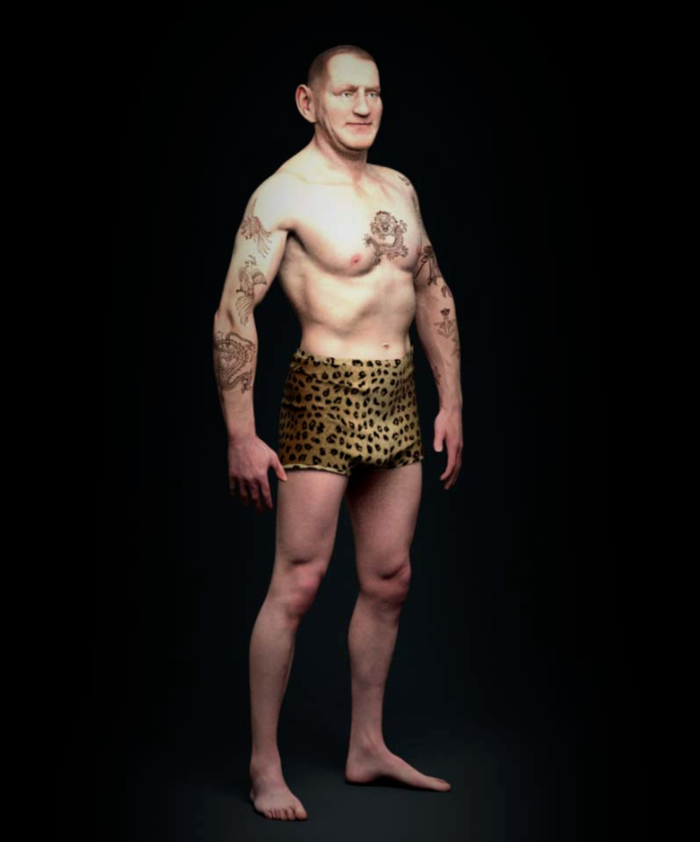 A 3D recreation of King Frederick IX's tattoo collection. And yes, he really did own snazzy leopard print undies like the ones pictured.