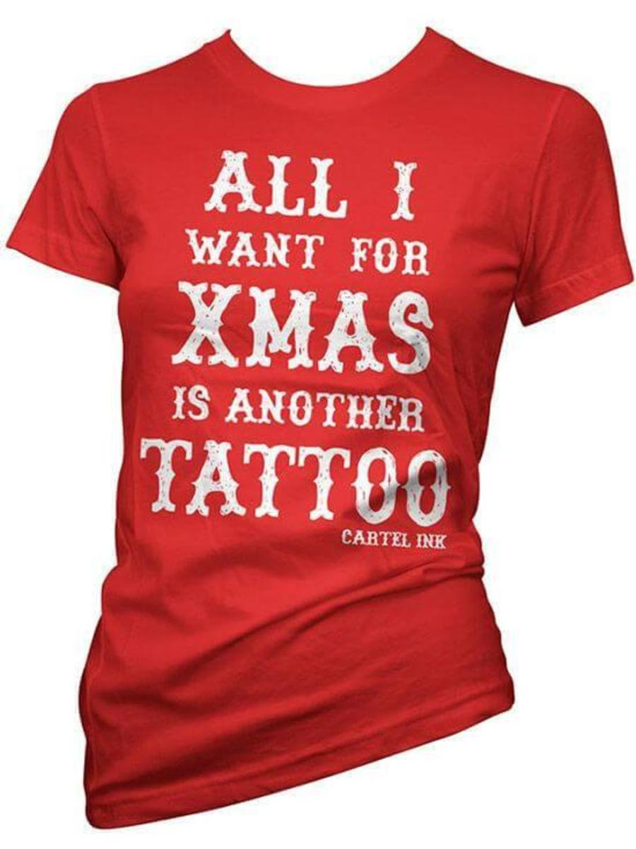 "WOMEN'S ""ALL I WANT FOR XMAS"" TEE BY CARTEL INK"