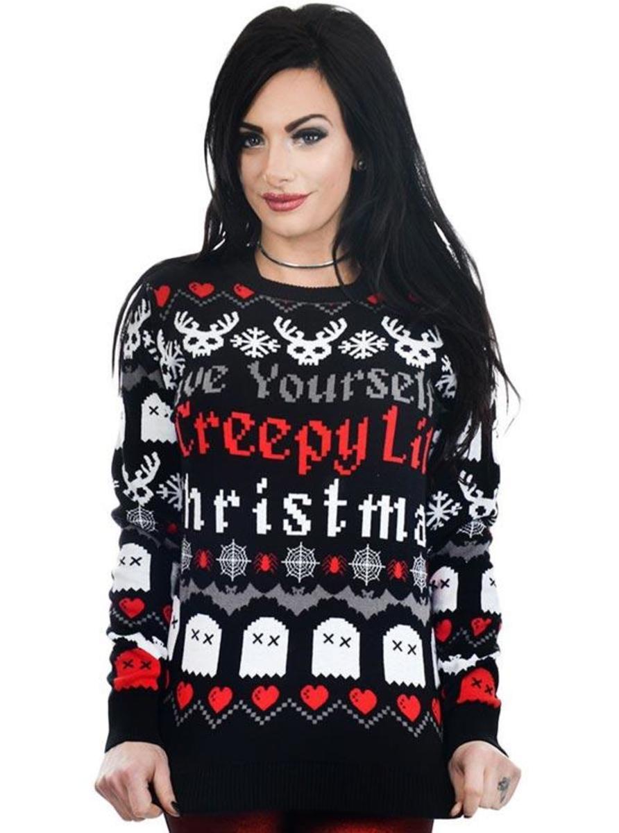 "WOMEN'S ""CREEPY LIL CHRISTMAS"" UGLY CHRISTMAS SWEATER BY TOO FAST"