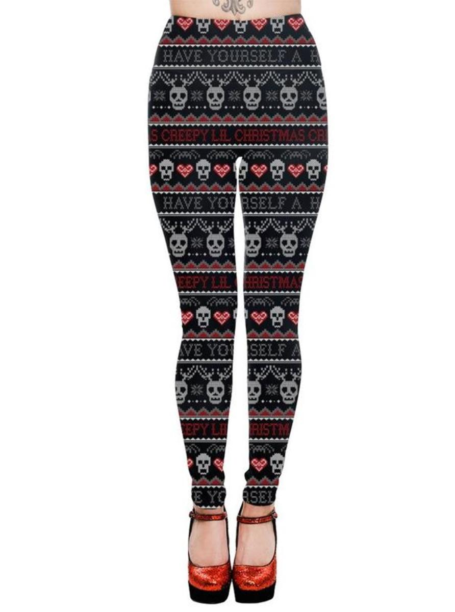 "WOMEN'S ""CREEPY LIL CHRISTMAS"" HIGH WAIST LEGGINGS BY TOO FAST"