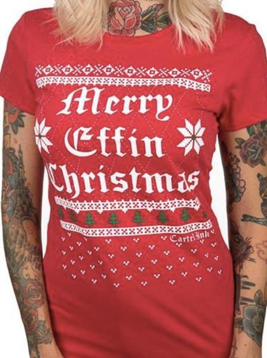 "WOMEN'S ""MERRY EFFIN CHRISTMAS"" UGLY SWEATER TEE BY CARTEL INK"