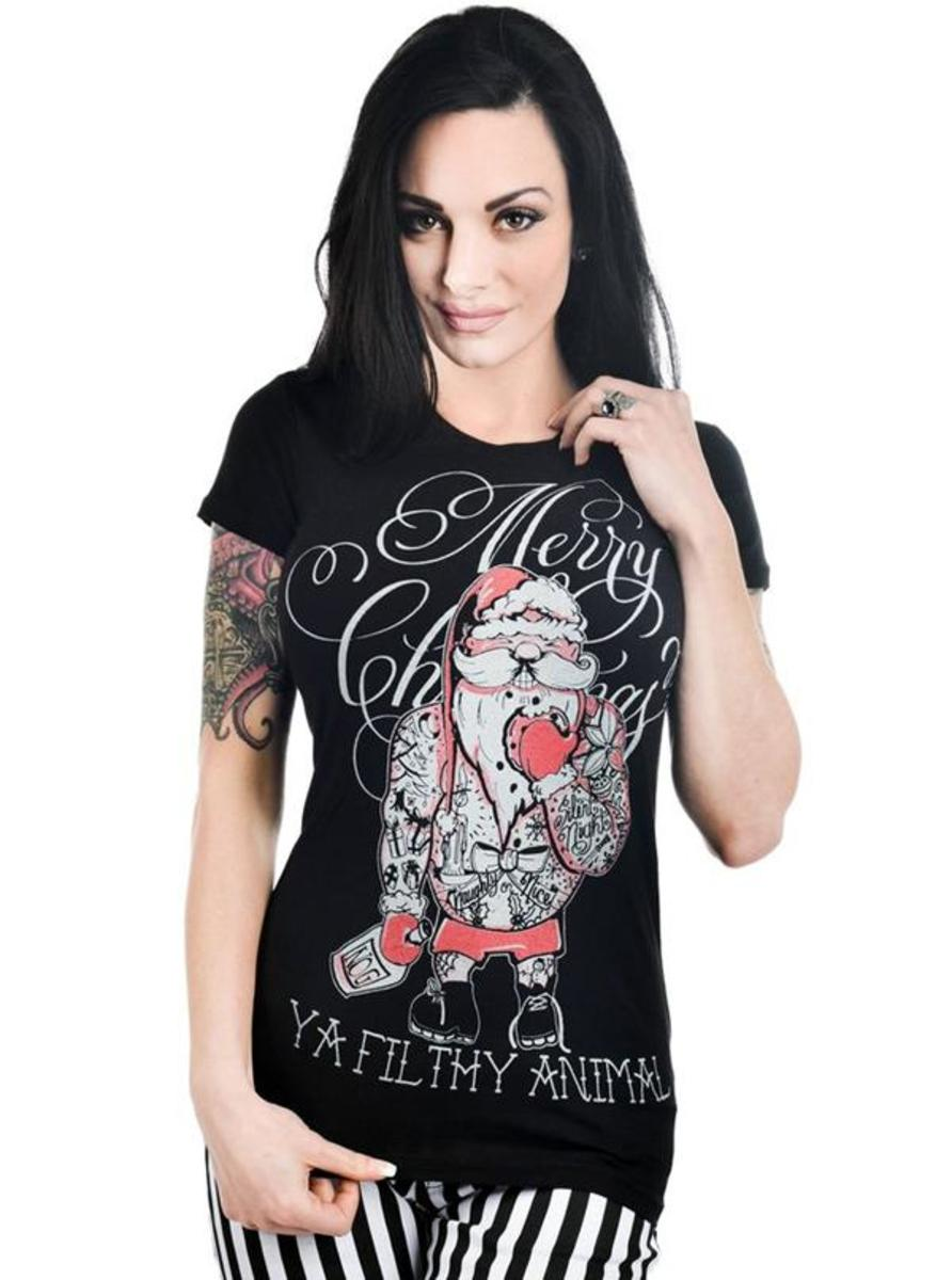 "WOMEN'S ""MERRY CHRISTMAS YA FILTHY ANIMAL"" BABYDOLL TEE BY TOO FAST"