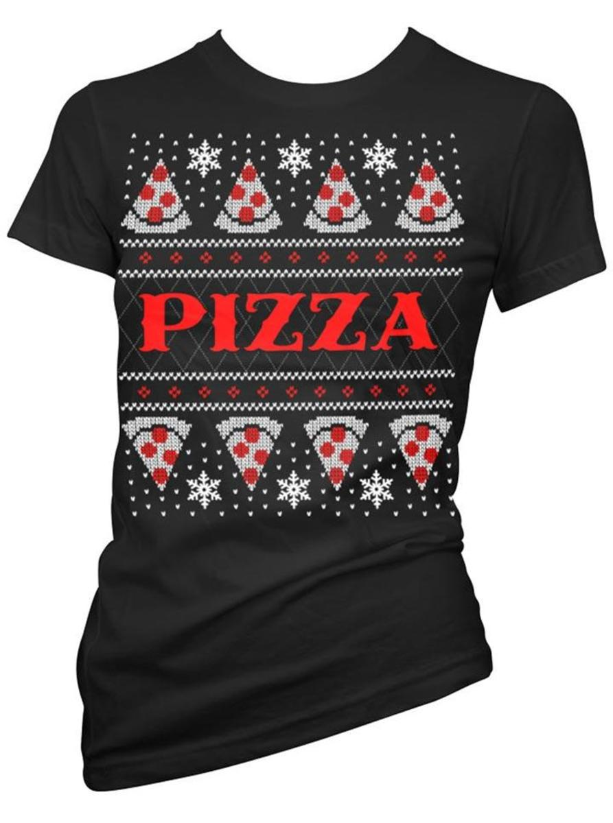 "WOMEN'S ""PIZZA"" UGLY CHRISTMAS SWEATER TEE BY CARTEL INK"