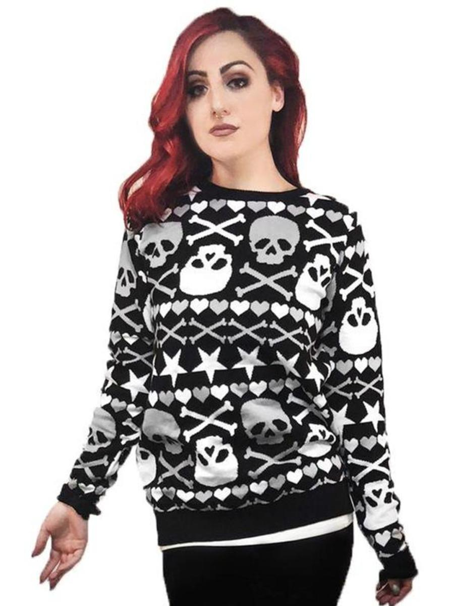 "WOMEN'S ""STARS & SKULLS"" UGLY CHRISTMAS SWEATER BY TOO FAST"