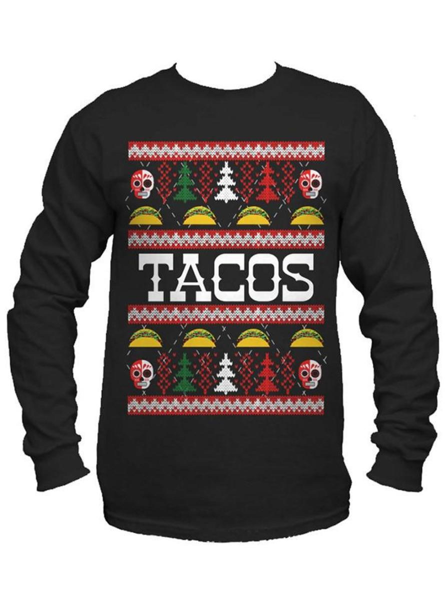"MEN'S ""TACOS"" UGLY CHRISTMAS SWEATER LONG SLEEVE TEE BY CARTEL INK"