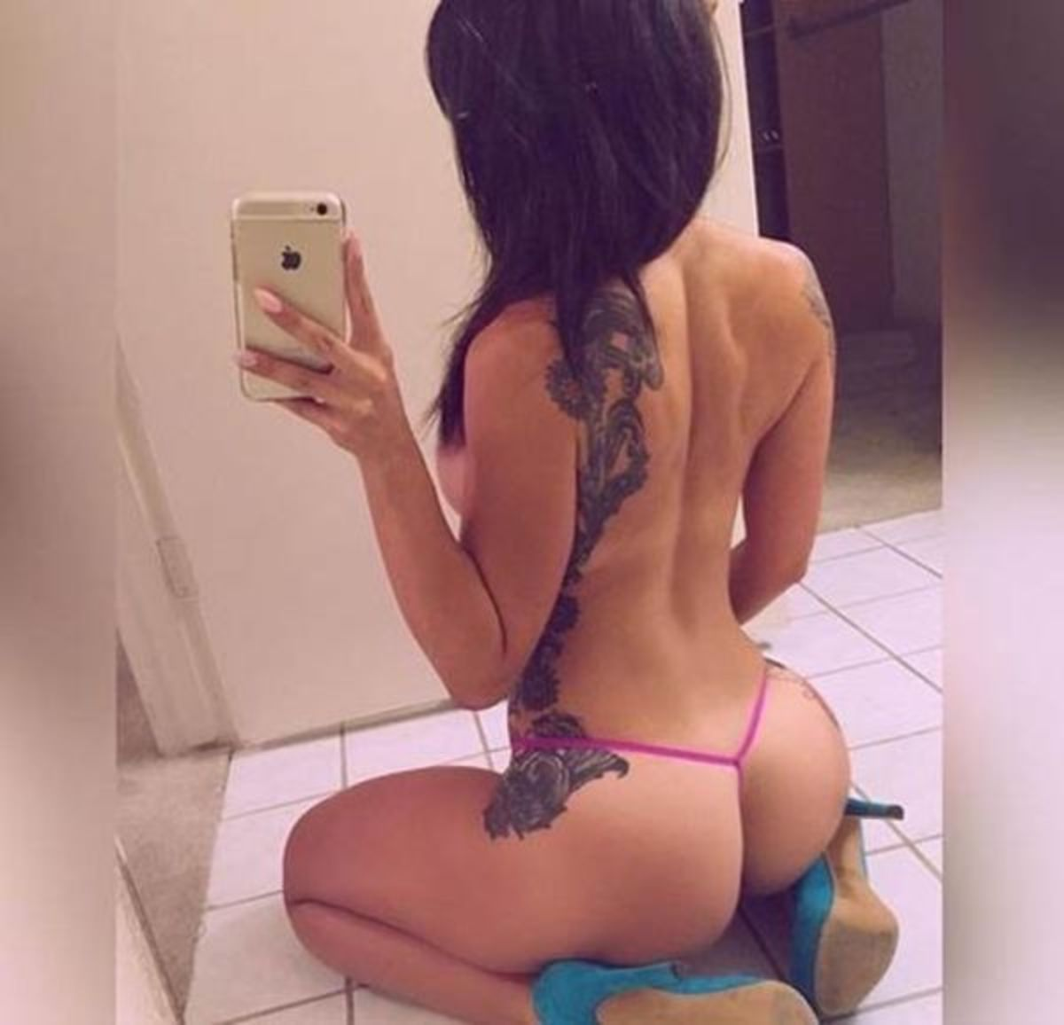 Thongs, high heels and tattoos make a deadly combo.