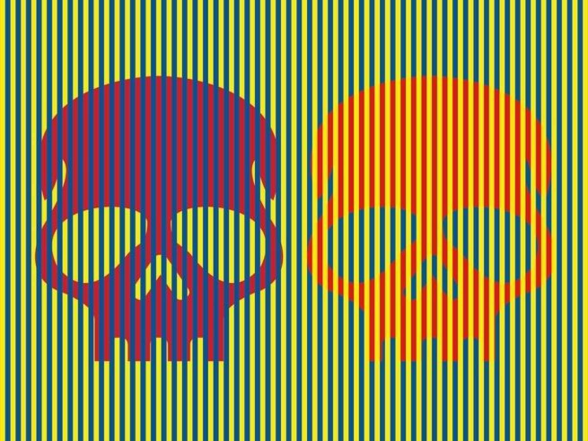 Munker-White illusion, munker white, optical illusions, blue and black dress controvery, blue or white dress, the dress controversy, Blue/Black White/Gold Dress Controversy, What Color Are These Skulls?, the dress, red skulls, skull tattoo ideas, purple and orange skull, David Novick, university of texas, color-completion effect, what is the color-completion effect