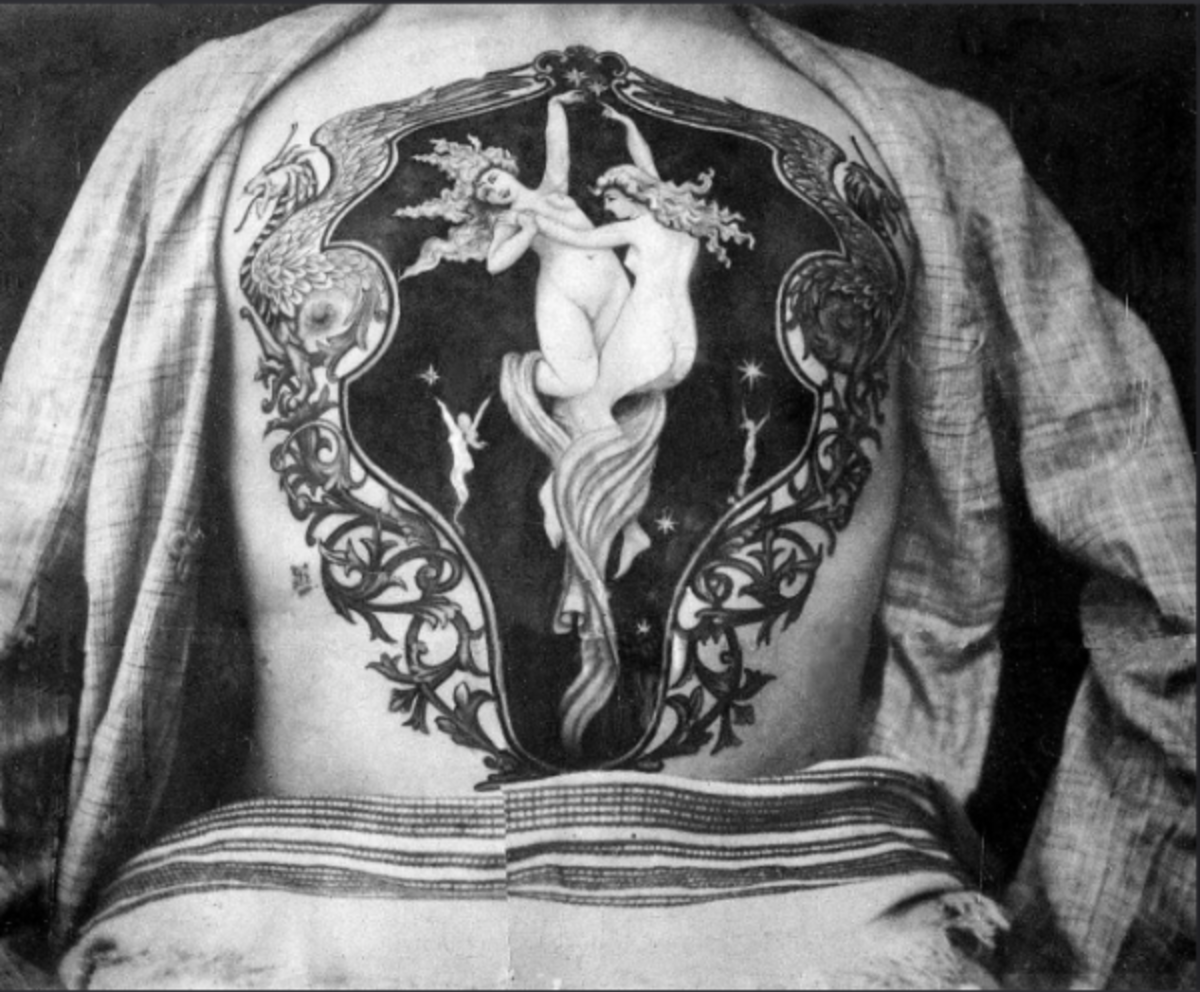 "A beautiful chest piece by Sutherland Macdonald, featuring two women within an artistic frame comprised of dragons and vines. Photo: National Maritime Museum Cornwall. The tattoo artist is also known for having trained George ""Professor"" Burchett – also known as the ""King of Tattooists"" – who went on to become one of the most famous ink slingers in the world in the late 1800s."