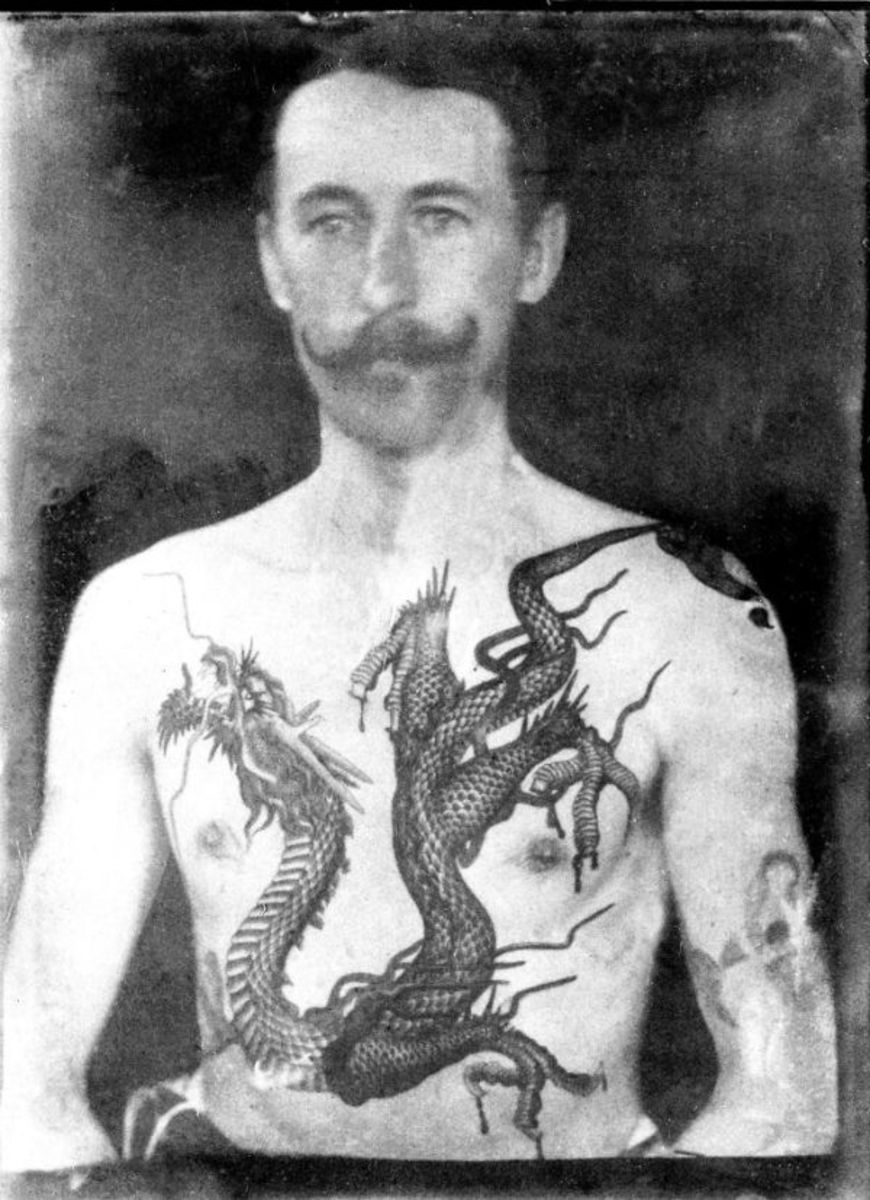 One of the sickest dragon pieces you'll ever see. Photo: National Maritime Museum Cornwall. He ventured into tattooing after he retired from the British Army where he served in the Anglo-Zulu War. After deciding to go pro in tattooing, he opened up the one of the first legit tattoo shops in Aldershot, Hampshire.