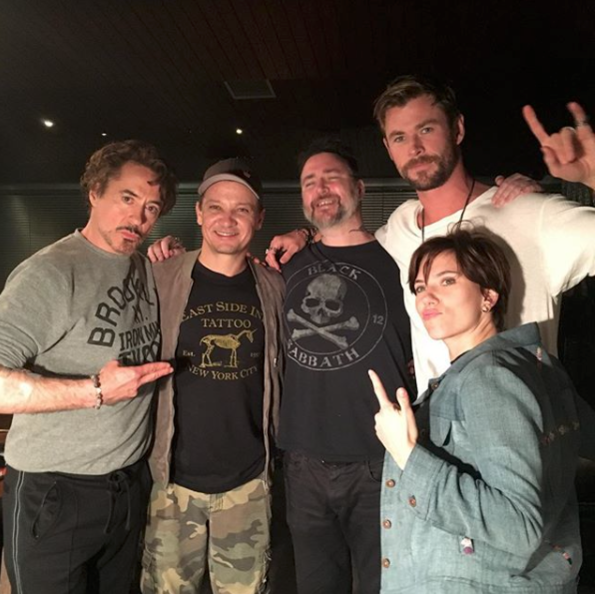 From left to right: Robert Downey Jr., Jeremy Renner, Josh Lord, Chris Hemsworth, and Scarlett Johansson