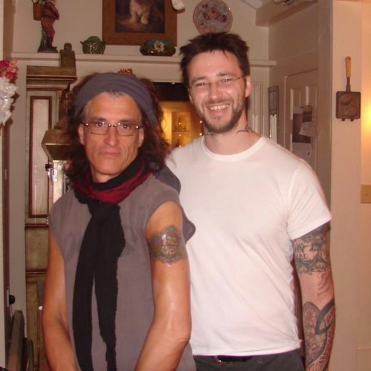 Josh Lord after tattooing Joe Perry