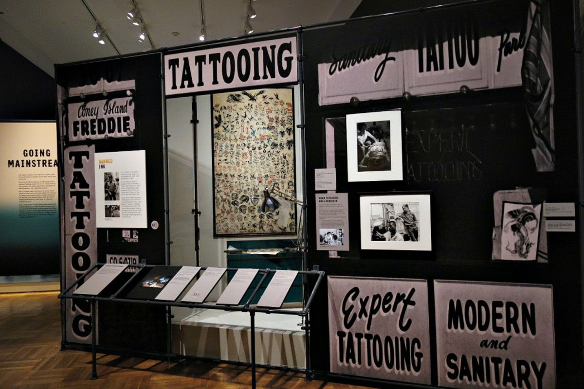 Installation view of Tattooed New York at the New-York Historical Society