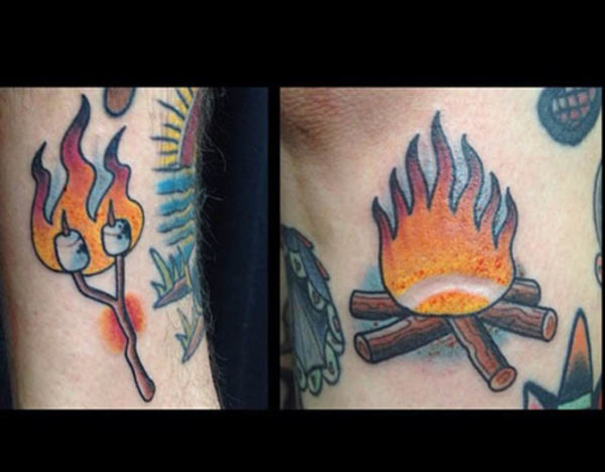 campfire-and-marshmellow-tattoos