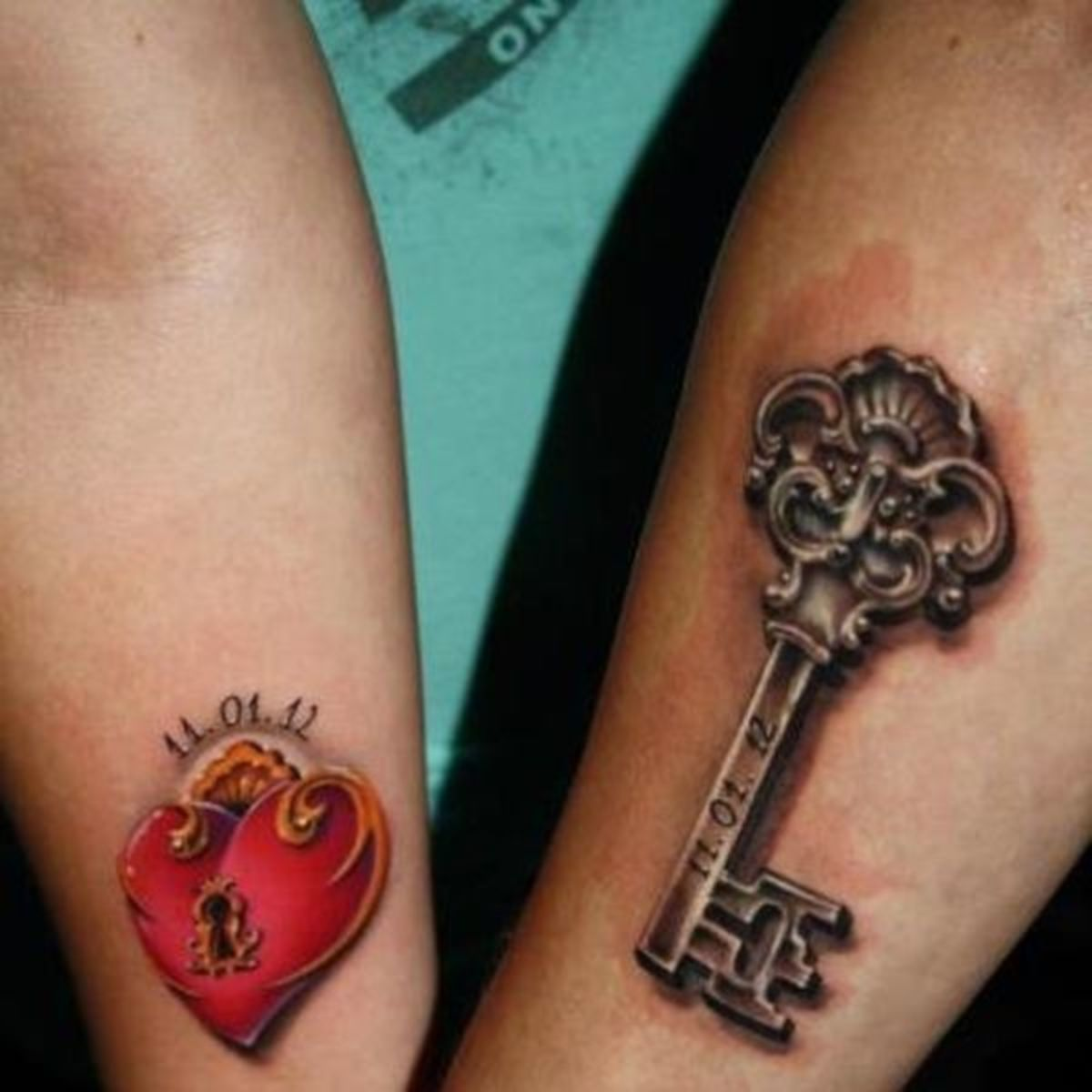 key-and-heart-couples-tattoos