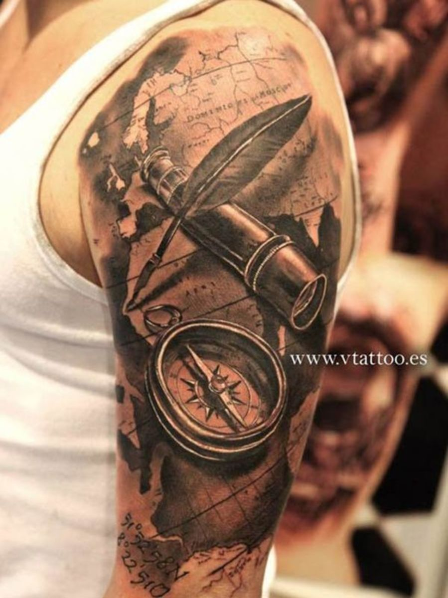 Travel Tattoos Most women love a man who has seen the world. Tattoos showing off your wanderlust are sure to entice many ladies.