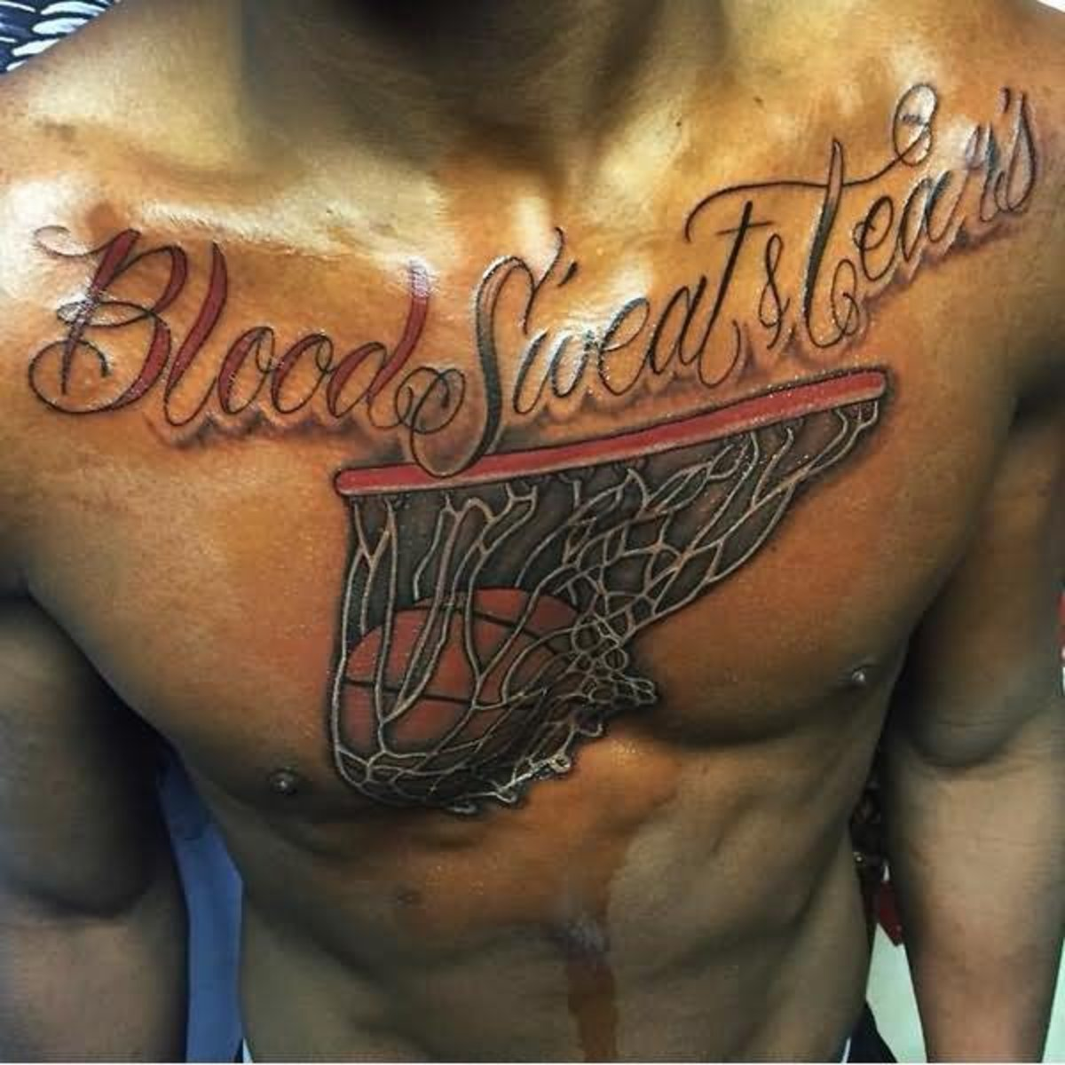 Blood-Sweat-Tears-Basketball-In-Basket-Tattoo-On-Chest