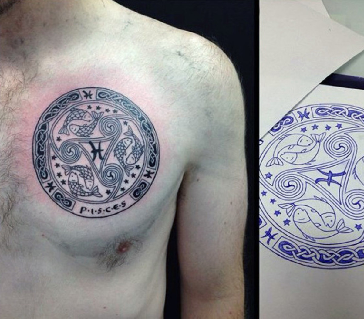cool-pisces-themed-mens-circle-upper-chest-tattoos