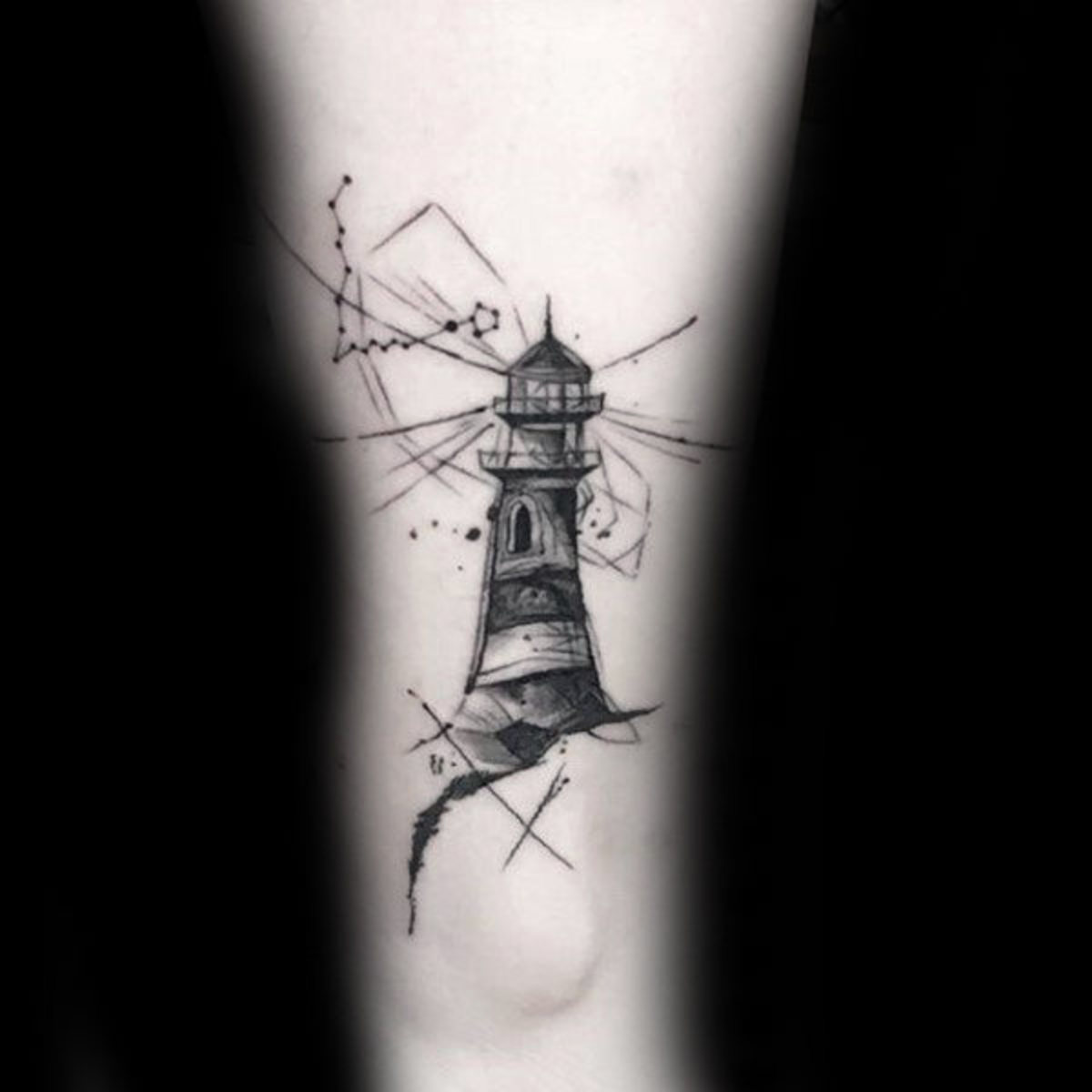 lighthouse-pisces-constellation-mens-thigh-tattoos
